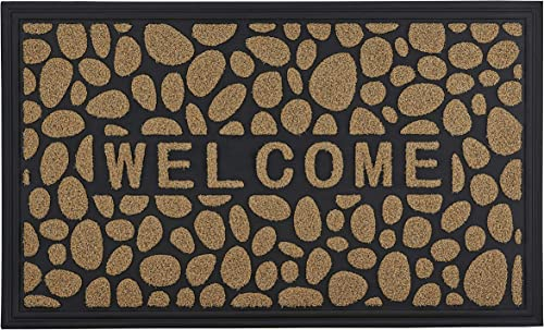 Superio Non-Slip Welcome Doormat for Entry, Indoor Outdoor, Heavy Duty, Waterproof, Easy Clean, Low-Profile Mats for Entry, Garage, Patio, High Traffic Areas, Natural Stone Coir, 18 x30