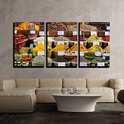 Amazon.com: wall26-3 Piece Canvas Wall Art - Spices on Display on ...