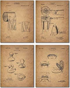 Bathroom Patent Wall Art Prints - Set of 4 (8 inches by 10 inches) Photos