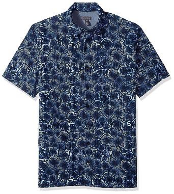 7d8a6a69 Van Heusen Men's Size Big and Tall Oasis Printed Short Sleeve Shirt, Deep  Blue Barge