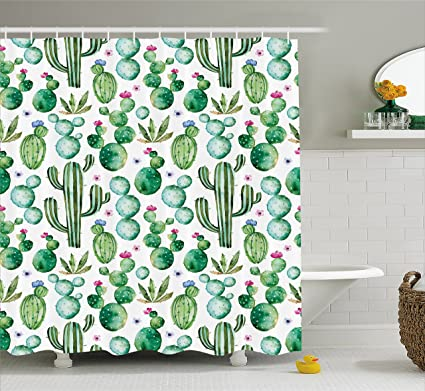 Delicieux Ambesonne Green Decor Shower Curtain, Mexican Texas Cactus Plants Spikes  Cartoon Like Art Print,