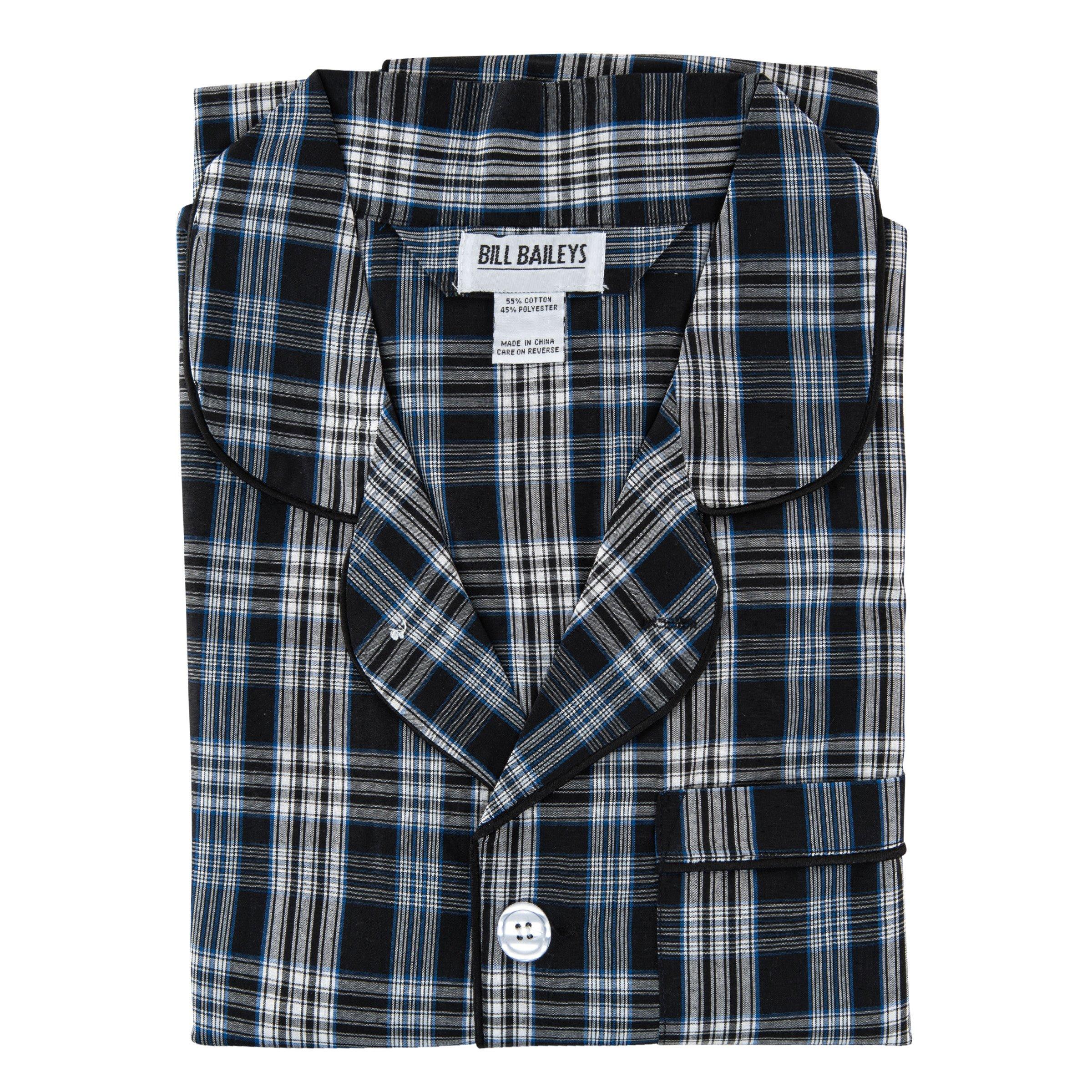 Bill Baileys Men's Long Woven Pajamas Set Button Front Down Long Sleeve Pajama (Large, Navy) by Bill Baileys