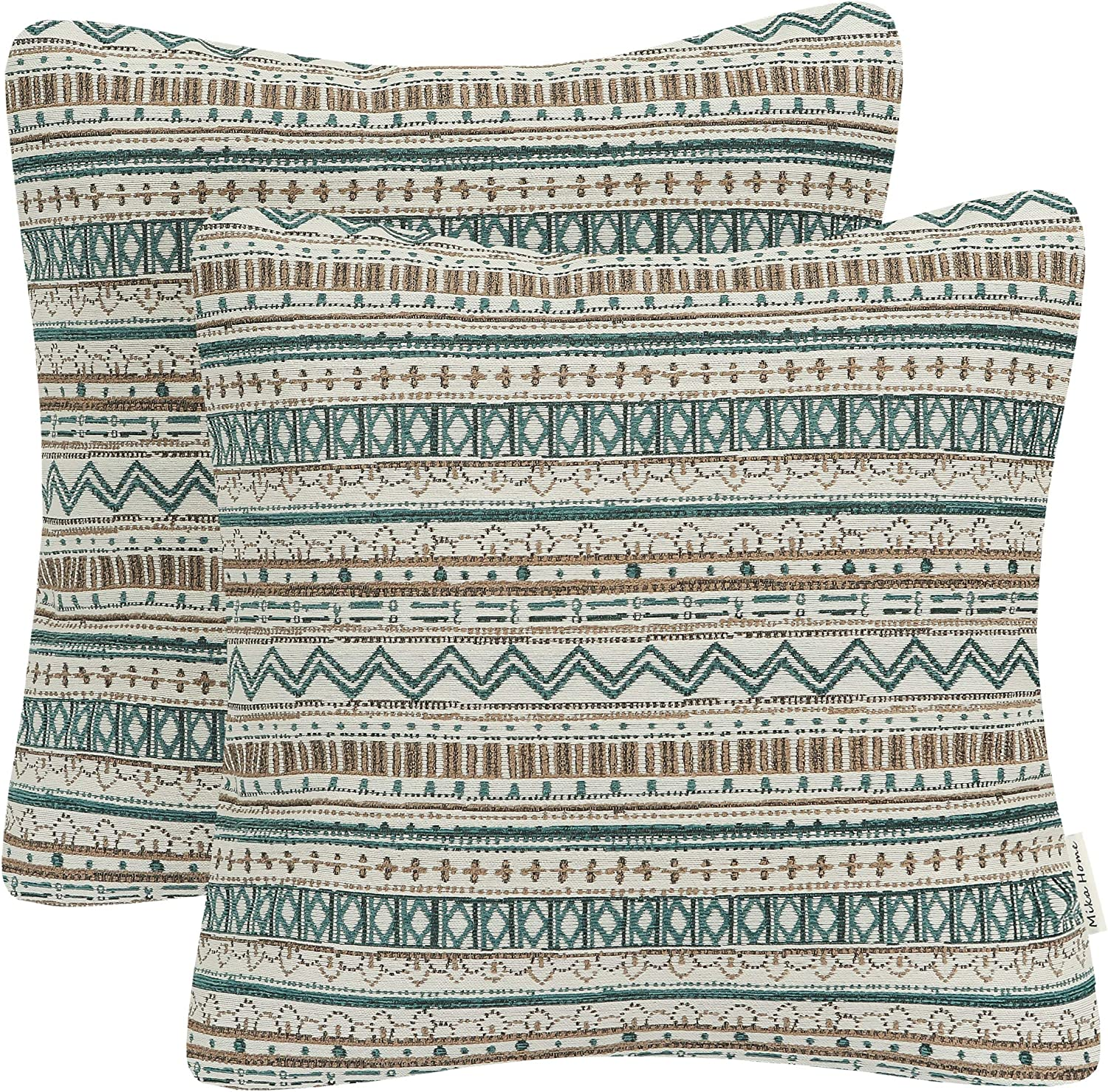 Mika Home Pack of 2 Throw Pillow Covers Decorative Pillow Cases for Sofa Couch Bed, Bohemian Striped Geometric Pattern, 20x20 Inches, Green Taupe Cream