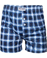 Men's 2 Pack Boxer Shorts Checked Classic Winter Briefs