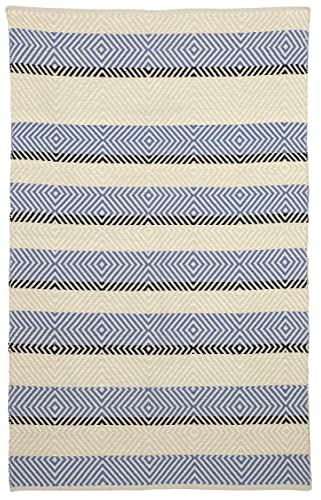 Fab Habitat Reversible Cotton Area Rugs Rugs for Living Room, Bathroom Rug, Kitchen Rug Machine Washable Tranquil – Snow White Faded Denim 4 x 6