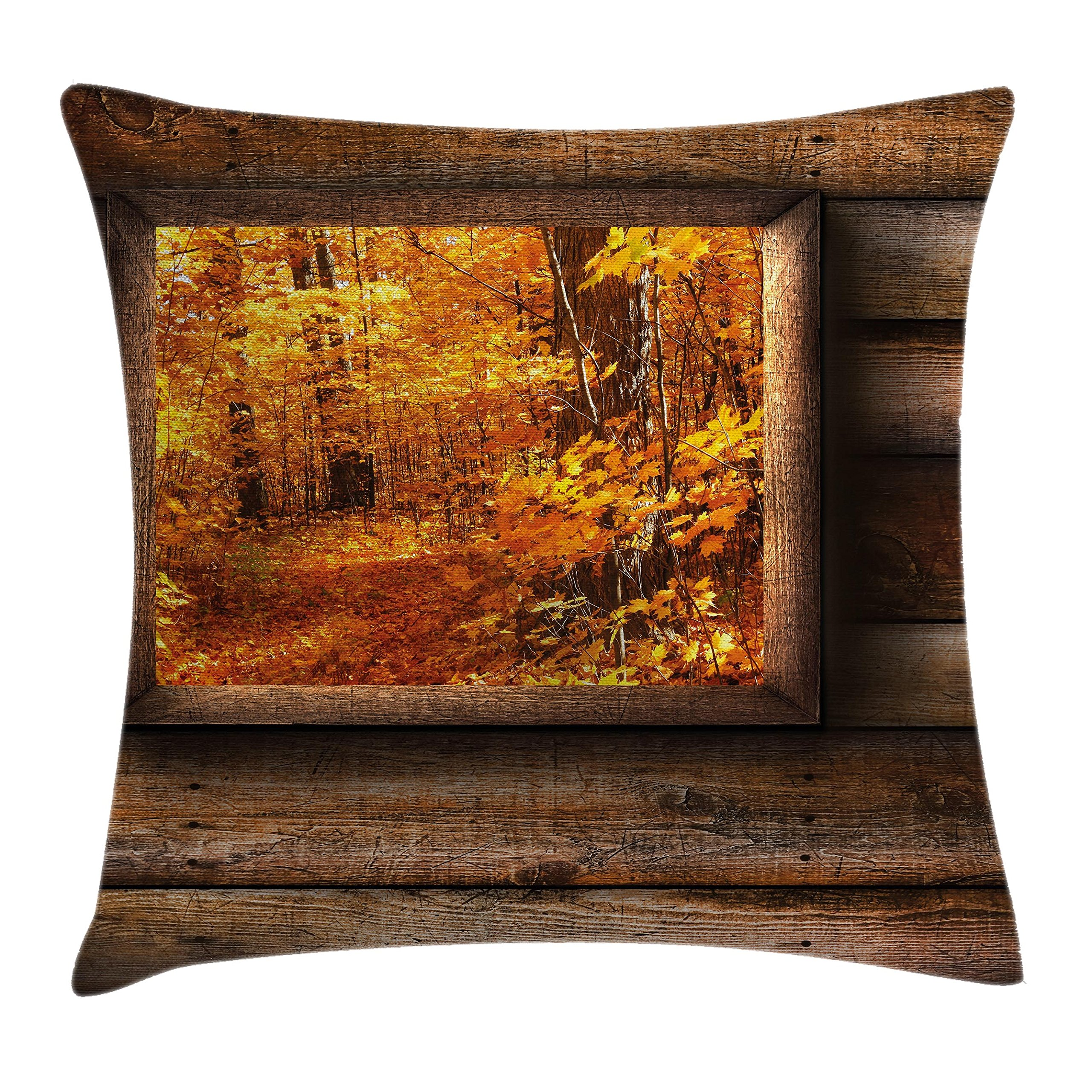 Ambesonne Fall Decorations Throw Pillow Cushion Cover, Fall Foliage View from Square Shaped Wooden Window Inside Cottage Photo, Decorative Square Accent Pillow Case, 18 X 18 inches, Orange Brown