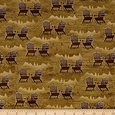 Henry Glass & Co. Henry Glass Twilight Lake Adirondack Chairs Brown Fabric by The Yard: Arts, Crafts & Sewing