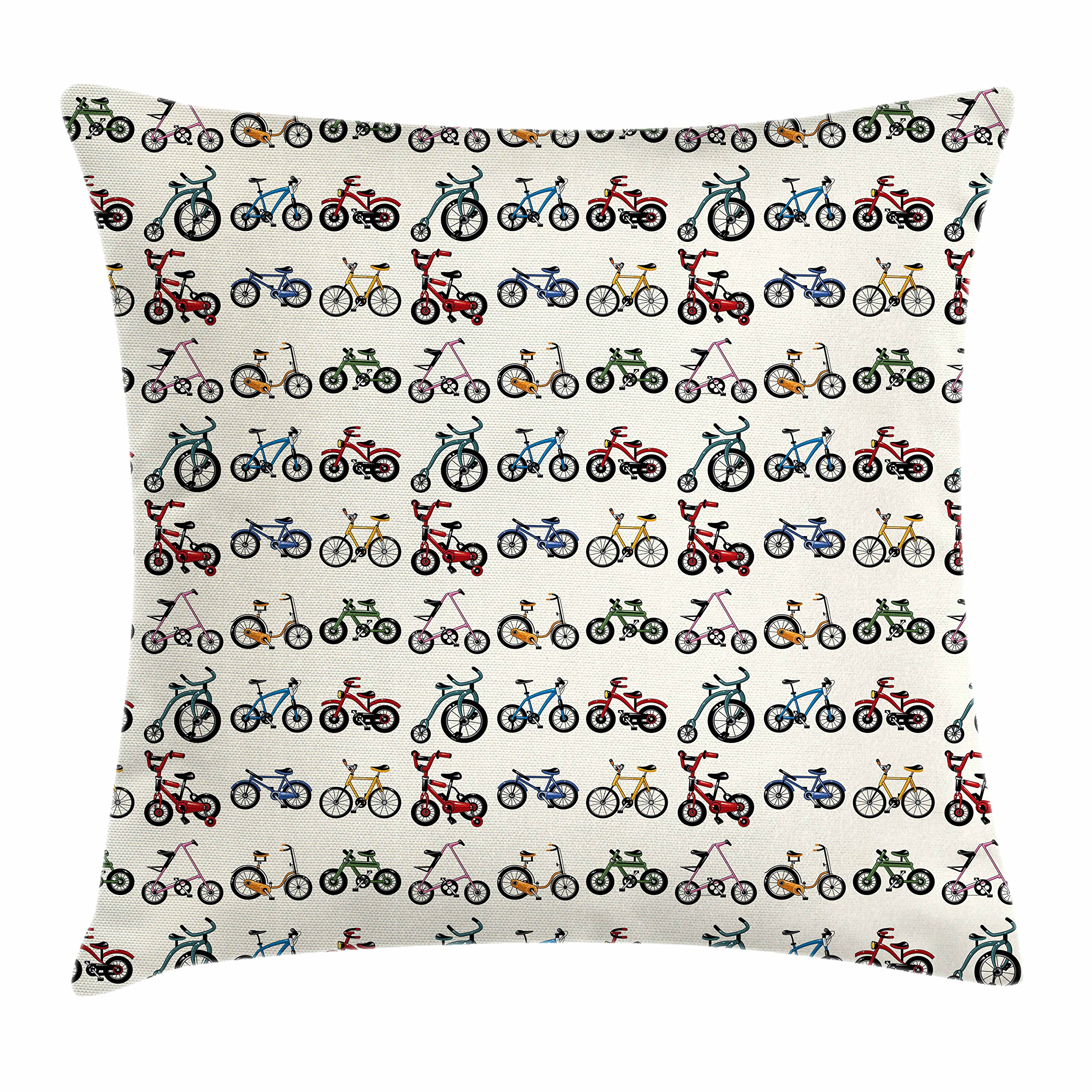 Ambesonne Kids Throw Pillow Cushion Cover, Colorful Collection of Bicycles with Boys Girls Riding Sports Activity Themed Pattern, Decorative Square Accent Pillow Case, 20 X 20 inches, Multicolor