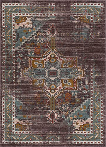Well Woven Contemporary Modern Vintage Heriz Floral Medallion Traditional Dark Brown Dusty Blue 8×10 7 10 x 9 10 Area Rug