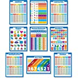 9 Educational Math Posters for Kids - Multiplication Chart, Division, Addition, Subtraction, Numbers 1-100 +, 3D Shapes, Fractions, Decimals, Percentages, Roman Numerals, Place Value (PAPER)