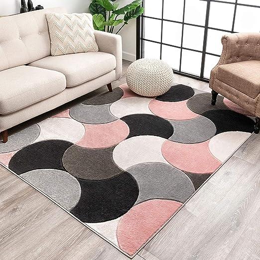Blush Pink Chevron Living Room Mat Cheap Grey Modern Geometric Rug /& Hall Runner
