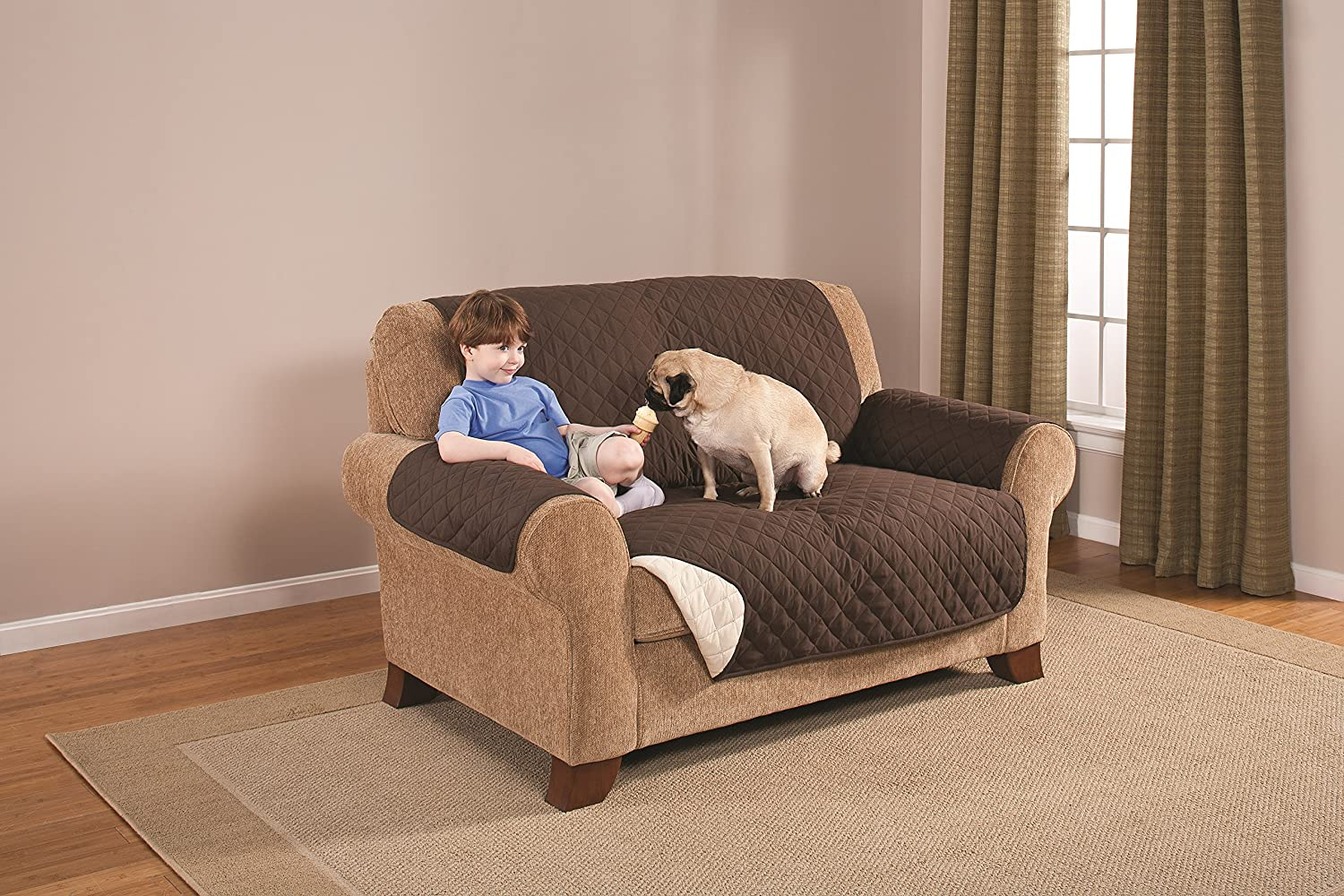 "Couch Guard Reversible LoveseatProtector/Cover, Sofa Slipcover Protects Furniture from Pets, Children, Stains. Quilted with Elastic Strap. Wash/Dry. 2 Colors/2 Great Looks! 75""x 88"" Chocolate/Tan"