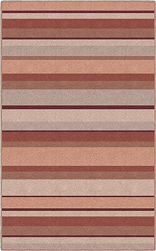 Brumlow Mills Terra Cotta Traditional Striped Area Rug, 7 6 x 10 ,