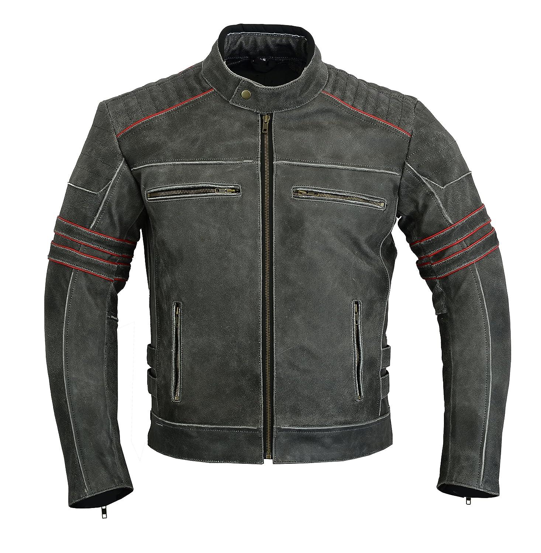 Giacca in pelle da uomo moto motocicletta blindata Motor sport alta protezione anticata dc-4088 LeatherTeknik