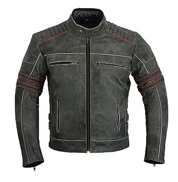 LeatherTeknik JACKET DC-4088 - Chaqueta de piel para hombre, diseño de motocicleta, alta protección: Amazon.es: Coche y moto