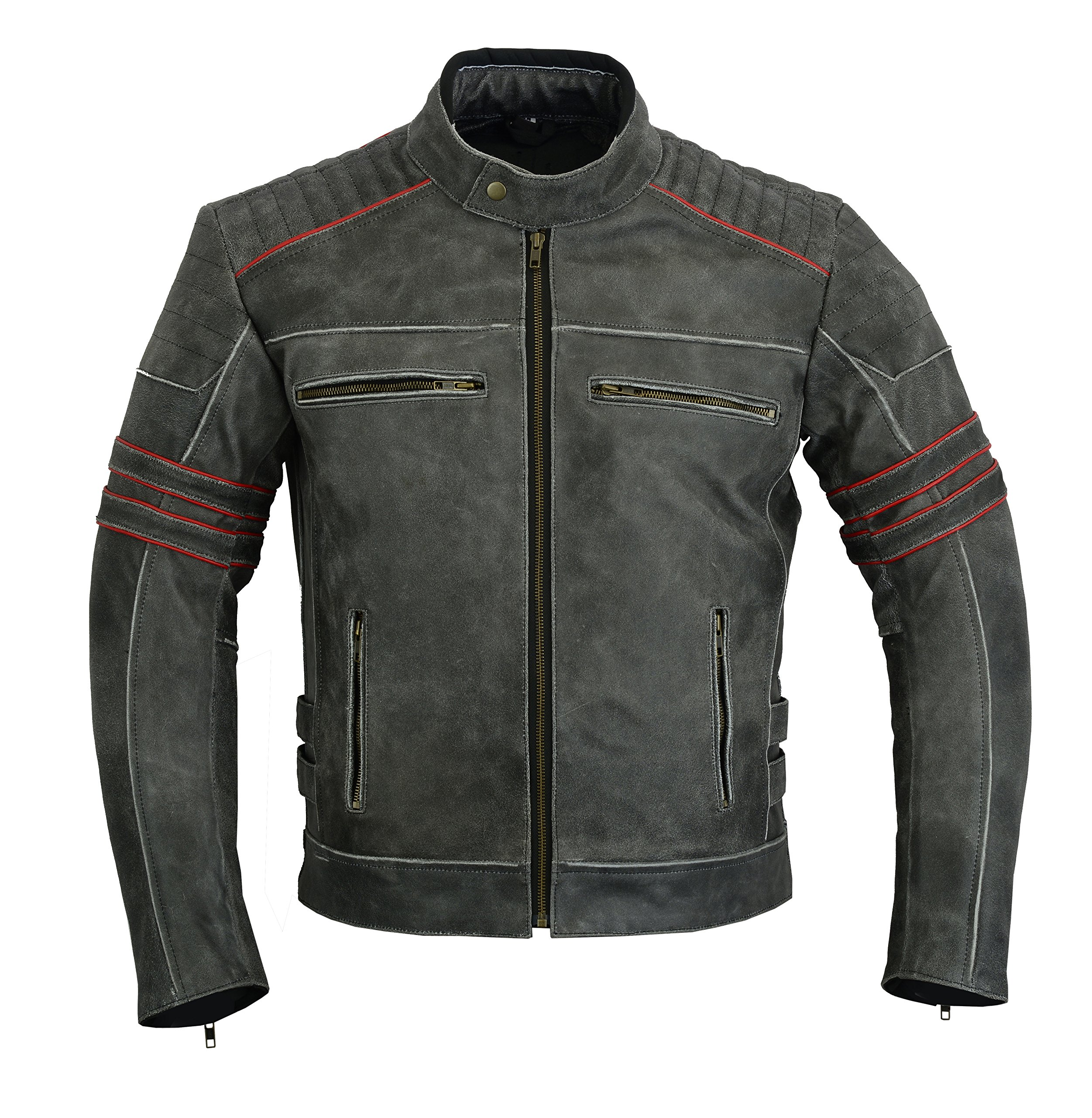 MENS MOTORCYCLE ARMOURED MOTOR SPORTS HIGH PROTECTION MOTORCYCLE DISTRESSED LEATHER JACKET DC-4099 XL