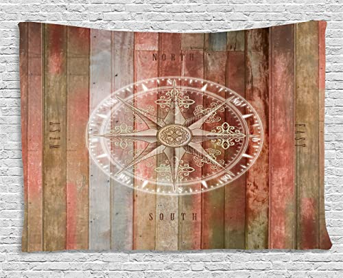 Ambesonne Marine Life Tapestry, Ocean Sea Life Yacht Themed Warm Colored Wooden Backdrop with Compass Image, Wide Wall Hanging for Bedroom Living Room Dorm, 60 X 40 , Pale Coral