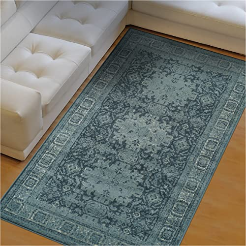 Superior Tatum Collection Area Rug, 10mm Pile Height with Jute Backing, Fashionable and Affordable Rugs, Vintage Oriental Kazak Rug Design – 8 x 10 Rug, Blue and Grey