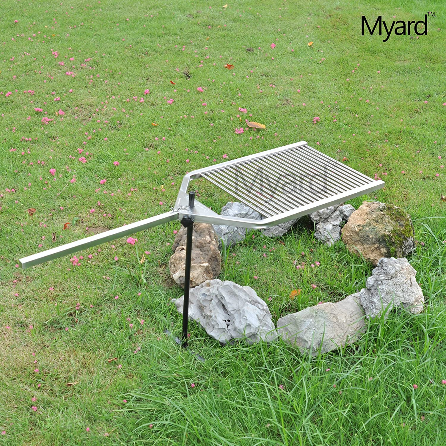 myard stainless steel 304 portable open fire pit campfire bbq swivel