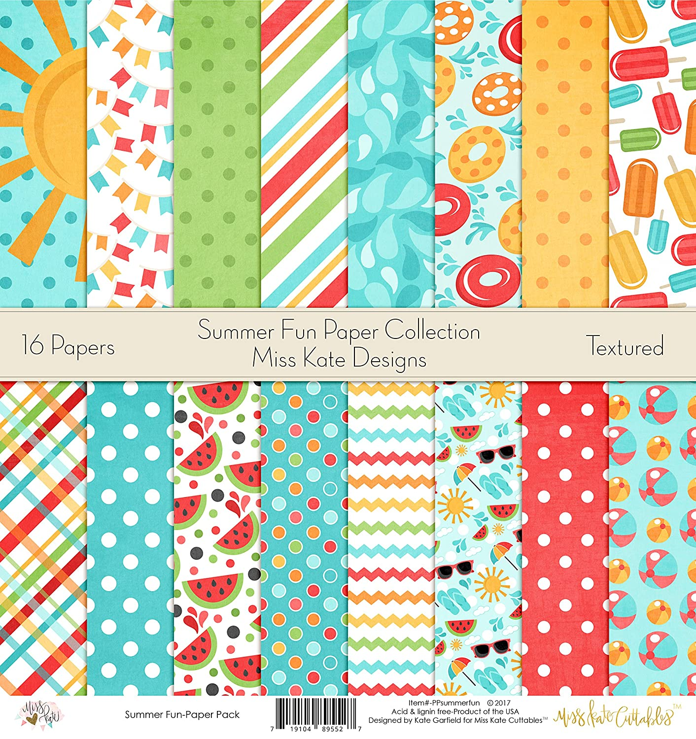 Amazon.com: Summer Fun Printed Scrapbook Paper Set By Miss Kate ...