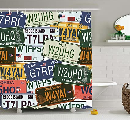Ambesonne Vintage Shower Curtain Original Retro Style License Plates Personalized Creative Travel Vacation Cloth