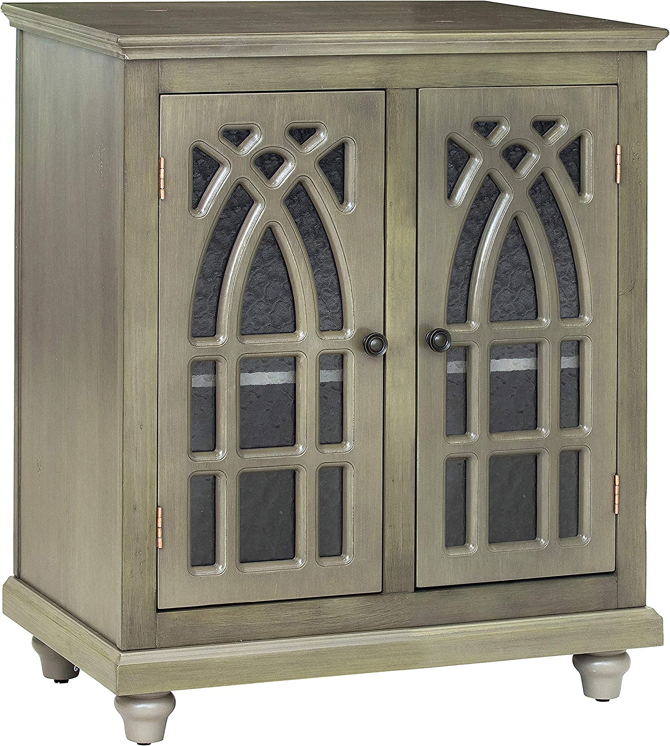 Glenwillow Home High Boy TV Stand//Accent Cabinet in Distressed Antique Earth Green
