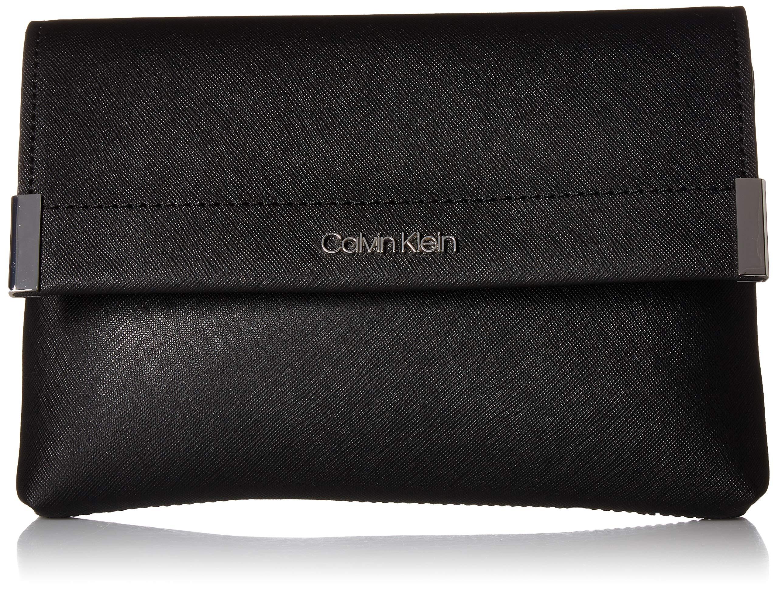 Calvin Klein Raelynn Saffiano Belt Bag Fanny Pack, black/silver
