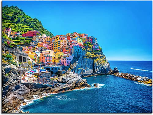 NAN Wind Modern Canvas Painting Wall Art Cityscape Traditional Port Mediterranean Sea Cinque Terre Italy Coast Landscape Print On Canvas Giclee Artwork