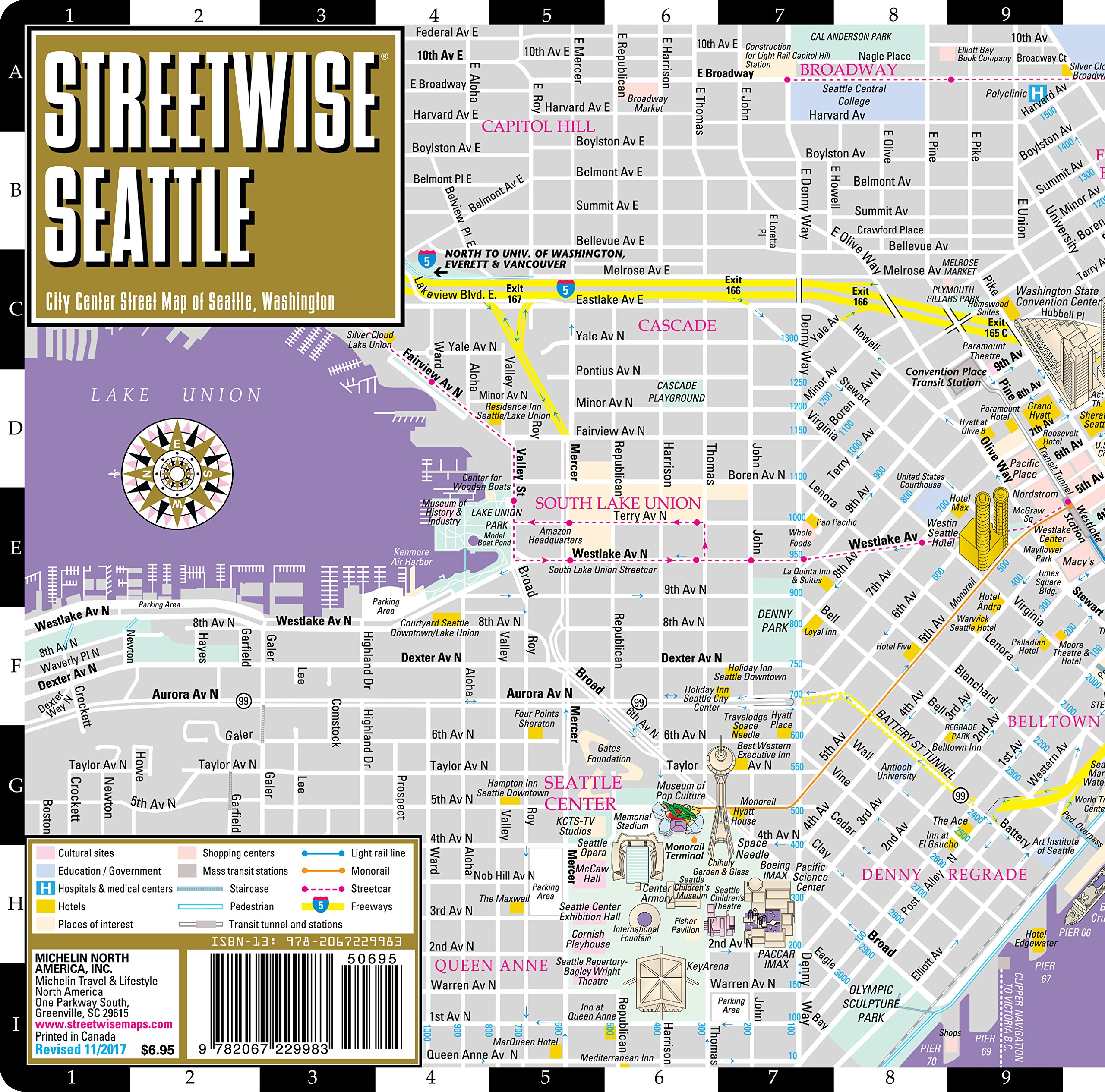 Streetwise Seattle Map - Laminated City Center Street Map of Seattle ...