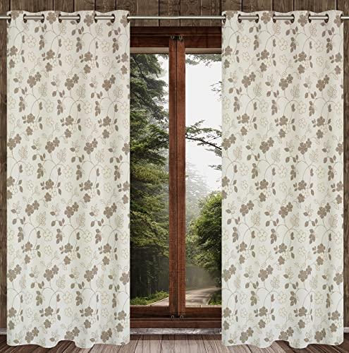 Cotton Blend Floral 54×95-in Marigold 2-Piece Grommet Curtain Set, Ivory Brown