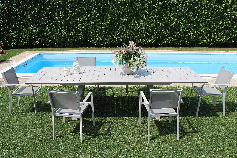 MILANI HOME Mesa de Exterior Extensible 200/300 x 110 cm con ...
