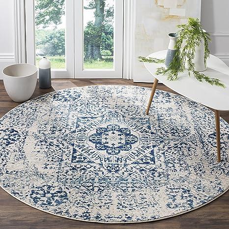 Amazon Com Safavieh Evoke Collection Evk260c Oriental Medallion Distressed Area Rug 3 X 3 Round Ivory Blue Furniture Decor
