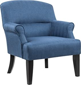 "Amazon Brand – Ravenna Home Penridge Rolled Armed Seamed Back Accent Chair, 29.92""W, Navy Blue"