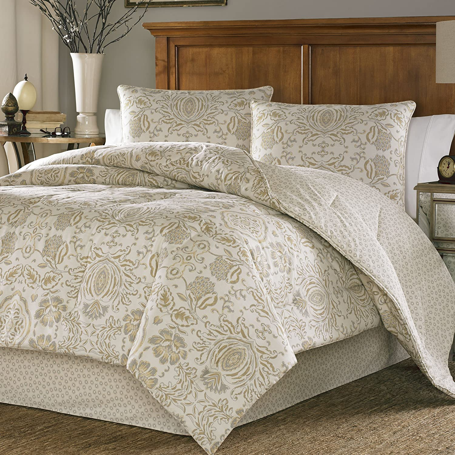 set beige kitchen dp stone belvedere home amazon cottage comforter com sateen king piece