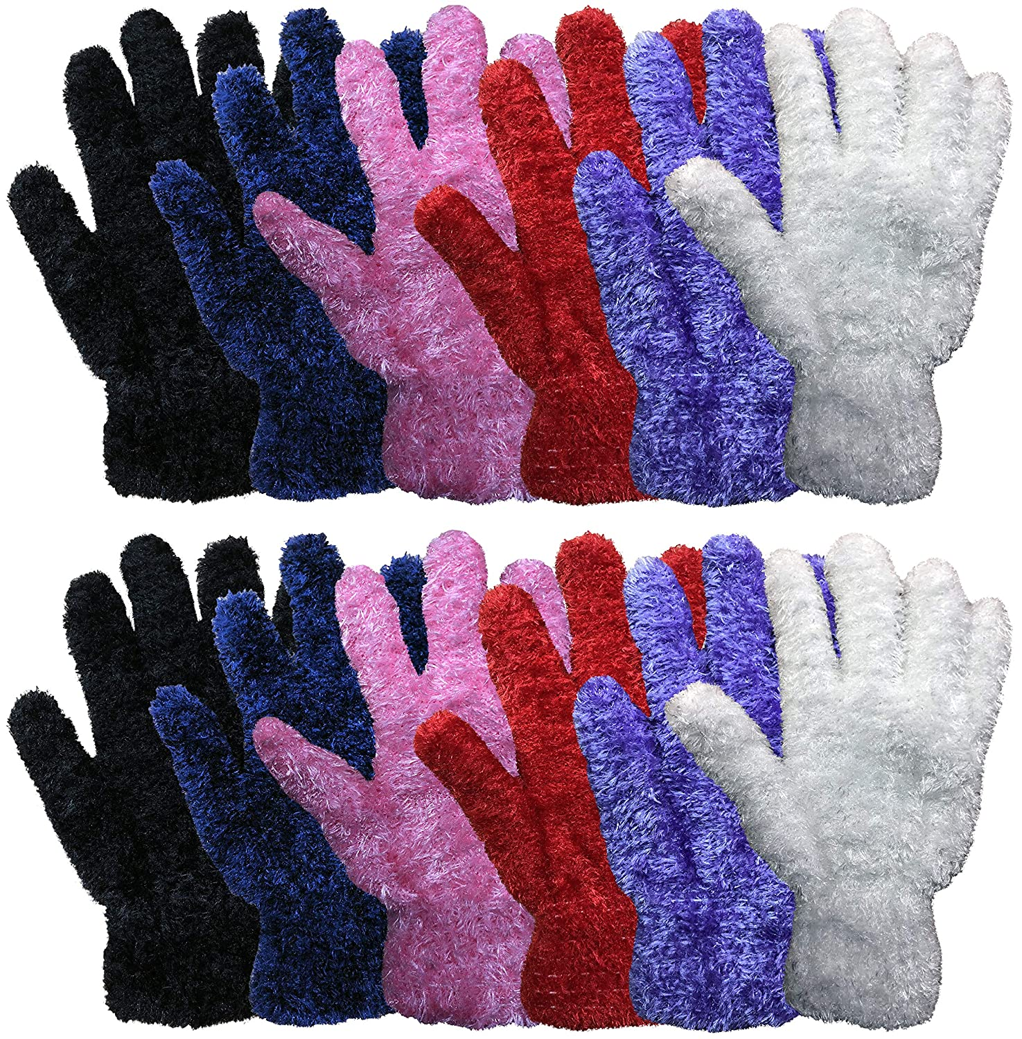 12 Pair Pack Of excell Kids Warm Winter Colorful Magic Stretch Gloves And Mittens 152.dz