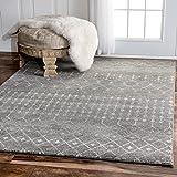 Traditional Vintage Moroccan trellis Dark Grey Area Rugs, 8 Feet by 10 Feet (8' x 10')