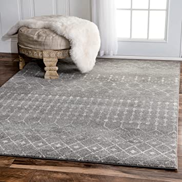 Traditional Vintage Moroccan Trellis Dark Grey Area Rugs, 5 Feet By 7 Feet  5 Inches