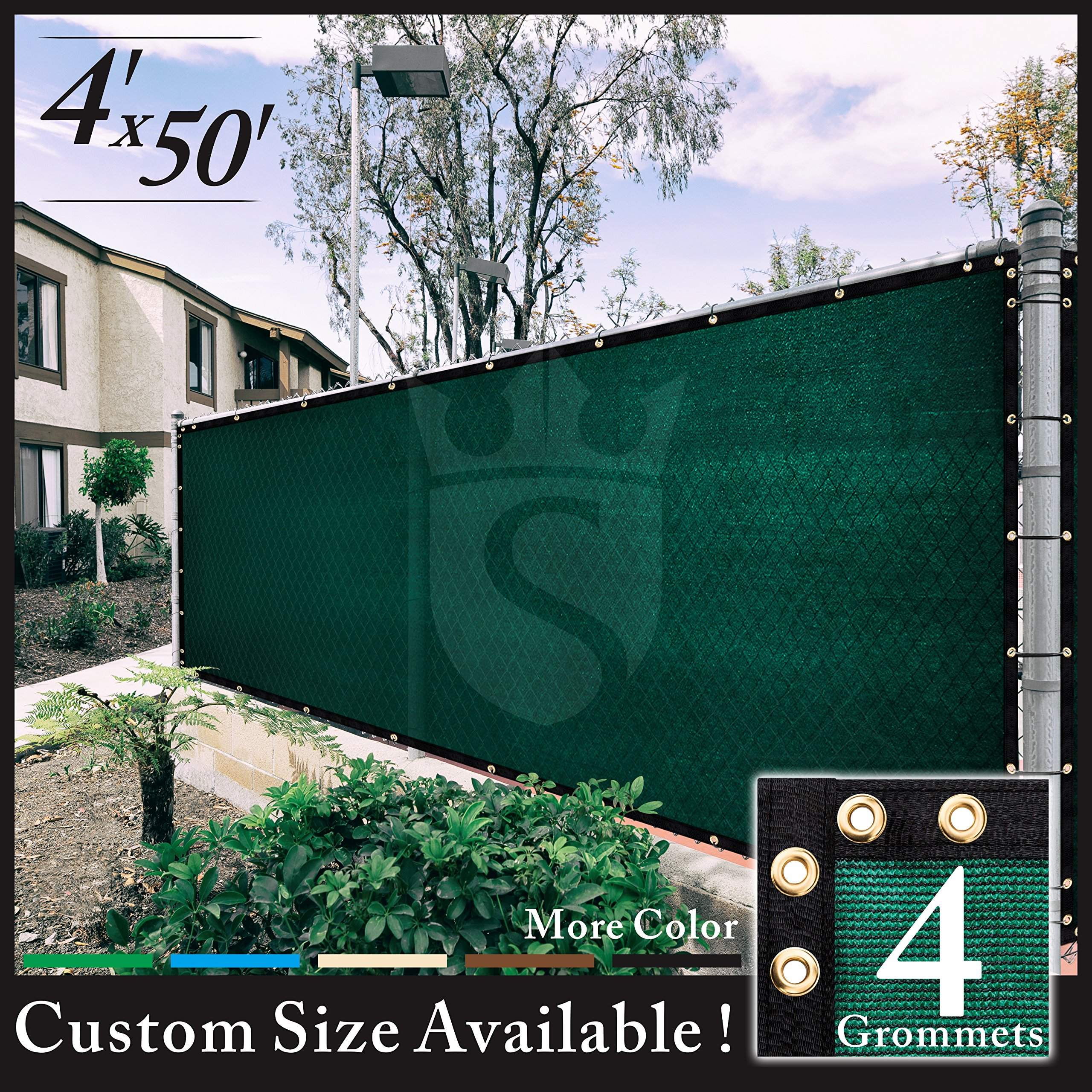 Royal Shade 6x50 Green Fence Screen Windscreen Cover Netting Mesh Fabric C loth - Get Your Privacy Today, Stop Neighbor Seeing-Through, 6' x 50