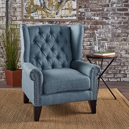 Marvelous Gdfstudio 302086 Lainie Traditional Winged Fabric Accent Chair Blue Machost Co Dining Chair Design Ideas Machostcouk