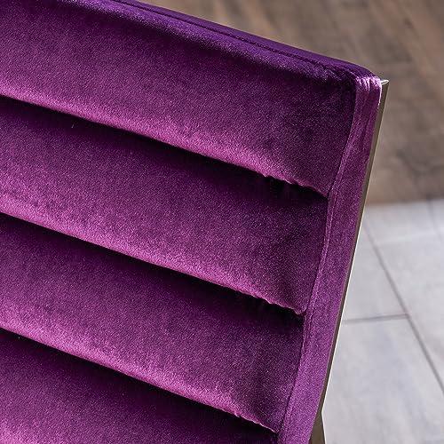 Christopher Knight Home Raoul Parisian Modern Velvet Sofa Chair, Eggplant Stainless Steel
