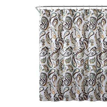 Image Unavailable Not Available For Color Decorative Brown Gold Green Fabric Shower Curtain