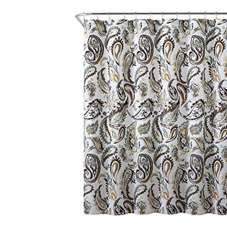 Amazon.com: Decorative Brown Gold Green Fabric Shower Curtain ...
