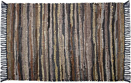 COTTON CRAFT Liverpool Handwoven Reversible Leather Chindi Area Rug