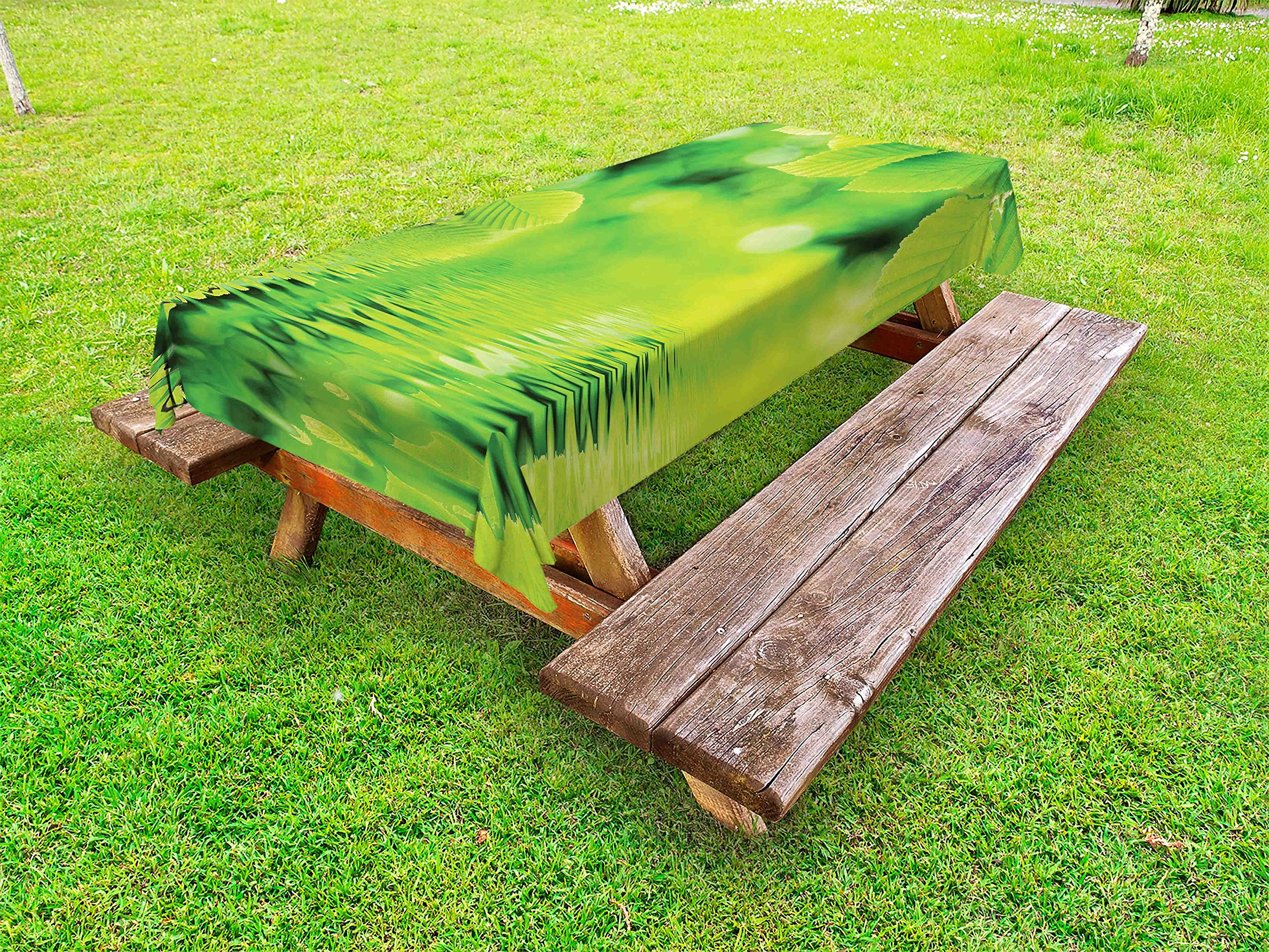 Ambesonne Leaves Outdoor Tablecloth, Leaves in Water Spa Open Your Chakra with Nature Meditation Ecological Monochrome Photo, Decorative Washable Picnic Table Cloth, 58 X 104 inches, Green