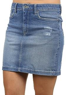 Sublevel Damen Jeans Mini Rock mit Knöpfen im Used Look