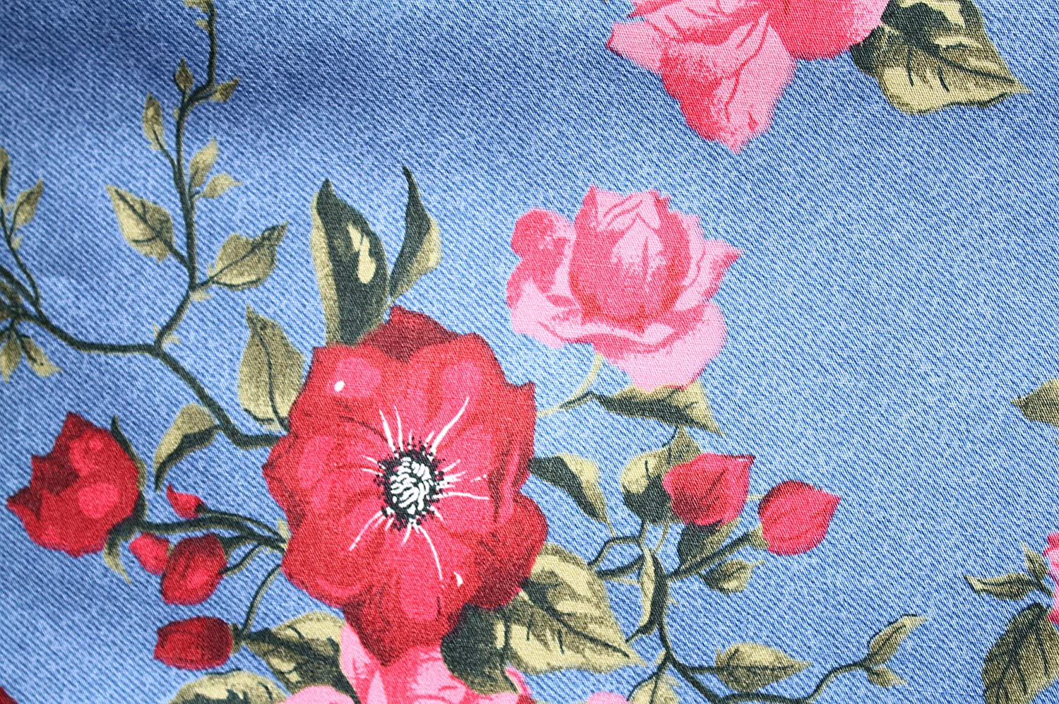 Blue Floral Vintage 50s Style Pin Up Bow Head Scarf Bandana