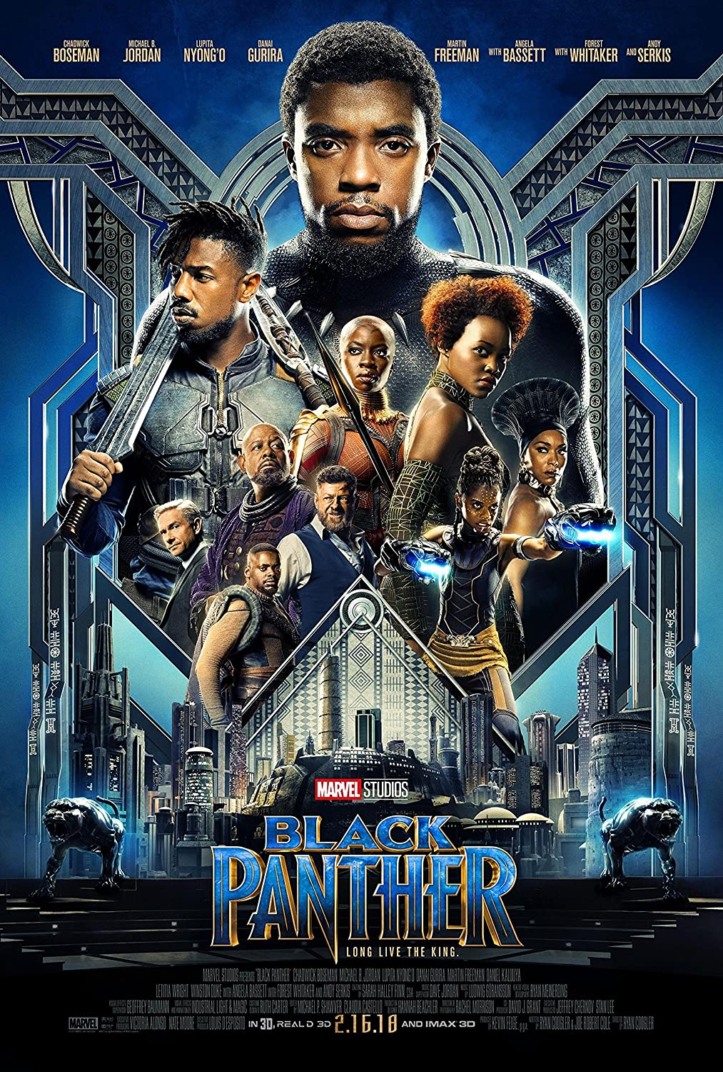 DVD cover showcasing Black Panther characters T'Challa, Killmonger, Nakia, Shuri, Okoye, & W'Kabi against the backdrop of the city of Wakanda.