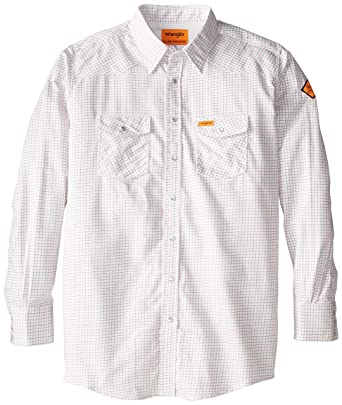 32ed9efec2f5 Wrangler Men s Big-Tall Flame Resistant Western Work Lightweight Woven Shirt
