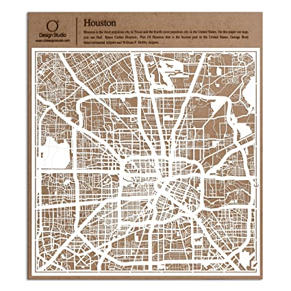Houston Paper Cut Map by O3 Design Studio White 12x12 inches Paper Art