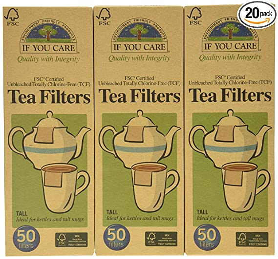 if you care fsc certified unbleached tea filters, 50 count (pack of ...